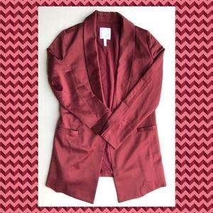Leith Burgundy Red Satin Longling Blazer